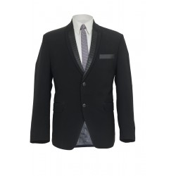 Black Designer Glazed Lapel  Suit