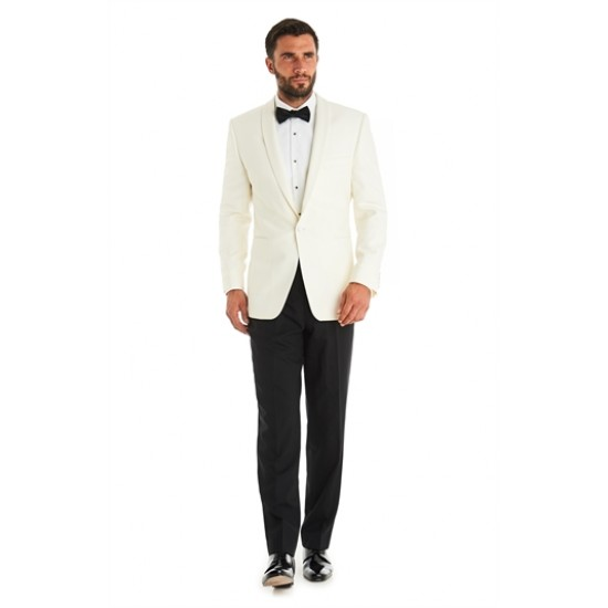 White Tuxedo SIngle Breasted 1- Buttoned